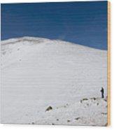 Hiking To Summit Of Mount Elbert Colorado In Winter Wood Print