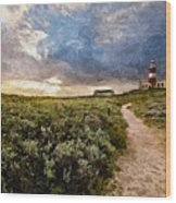 Hill Road To A Lighthouse H B Wood Print