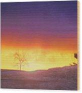 Hill Sunset Wood Print