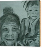 Hill Tribe Lady And Child Wood Print