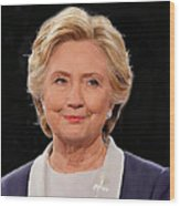 Hillary At The Debate Wood Print