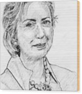 Hillary Clinton Pencil Portrait Wood Print by Rom Galicia