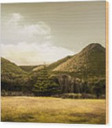 Hills And Fields Of Trial Harbour Wood Print