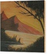 Hills During Sunset Wood Print