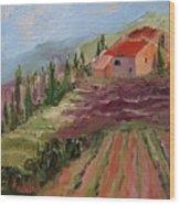 Hills Of Lavender Wood Print