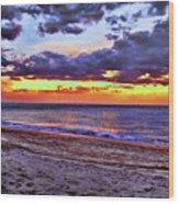 Hillsboro Beach Orange Sunset Hdr Wood Print