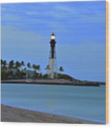 Hillsboro Lighthouse Twilight Time Wood Print