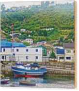 Hillside Along Harbor Near Angelo Fish Market In Puerto Montt-chile  Wood Print