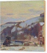 Hillside At Croisset Under Snow Wood Print