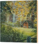 Hillside Barn Wood Print