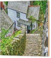 Hillside Cottages In Clovelly, Devon, Uk Wood Print