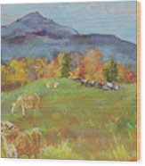 Hillside Grazing Wood Print