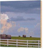 Hillside Hay Bales At Sunset Wood Print