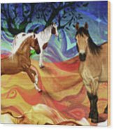 Hillside Horses Wood Print