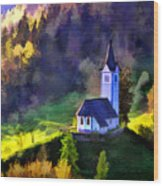 Hilltop Church In Misty Mountain Forest Wood Print
