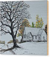 Hilltop Church Wood Print
