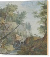 Hilly Landscape With A River And Figures In The Background Wood Print