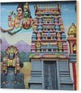 Hindu Deities On Wall Mural Of Sri Senpaga Vinayagar Tamil Temple Ceylon Rd Singapore Wood Print