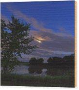 Hinkley Pond Moonset Wood Print
