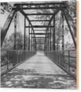 Hinkson Creek Bridge In Black And White Wood Print