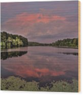 Hinson Lake Clouds Wood Print