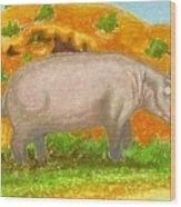 Hippo In The Savanna Wood Print