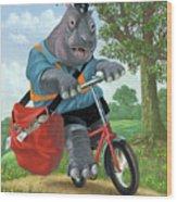 Hippo Post Man On Cycle Wood Print