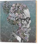 Hipster Floral Skull 2 Wood Print
