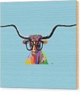 Hipster Longhorn Wood Print