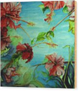 Hiroko's Hibiscus 4 Wood Print