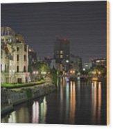 Hiroshima At Night Wood Print