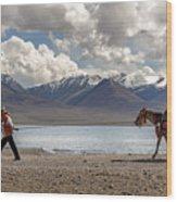 His Horse, Tibet, 2007  Wood Print