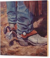 His Silver Spurs Painting Cowboy Art Wood Print