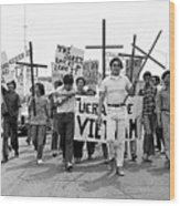 Hispanic Anti-viet Nam War March 1 Tucson Arizona 1971 Wood Print