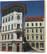 Historic Art Nouveau Buildings At Preseren Square White Tiled Ha Wood Print