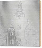 Historic Church And Town Square, Graphic Work From Painting. Metal Effect. Wood Print