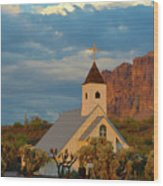 Historic Church In Superstition Mountain State Park Wood Print