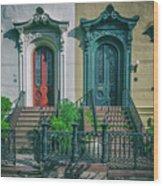 Historic Doors Of Charleston On Bull St Wood Print