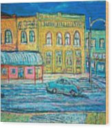 Historic Downtown Elgin At Twilight Wood Print