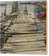 Historic Fishing Pier In Portugal I Wood Print