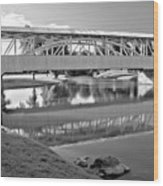 Historic Halls Mill Bridge Reflections Black And White Wood Print