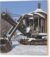 Historic Mining Steam Shovel During Alaska Winter Wood Print