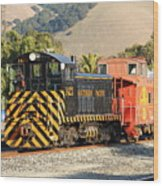 Historic Niles Trains In California . Old Southern Pacific Locomotive And Sante Fe Caboose . 7d10821 Wood Print by Wingsdomain Art and Photography