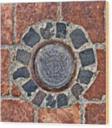 Historic Pavement Detail With Hungarian Town Seal Wood Print