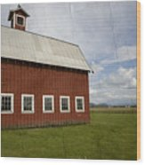 Historic Red Barn Wood Print by Bonnie Bruno