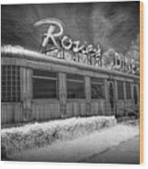 Historic Rosie's Diner In Black And White Infrared Wood Print