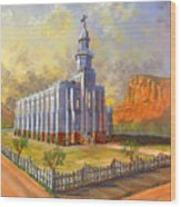 Historic St. George Temple Wood Print by Jeff Brimley