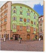Historic Street Of Innsbruck Panoramic View Wood Print