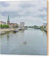 Historic Town Of Bremen And Weser River Wood Print