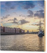Historic Town Of Bremen With Weser River Wood Print